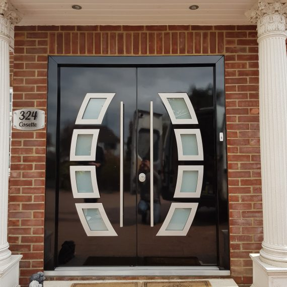 modern wide glass front door